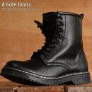 8ホールブーツメンズシンセティックレザー靴メンズサイドZIPブラック黒FSH8110181005