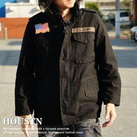 ジャケット メンズ ブランド HOUSTON M-65 アウター デニム ミリタリー ヒューストン 3WAY ブラック 黒 50613 181126