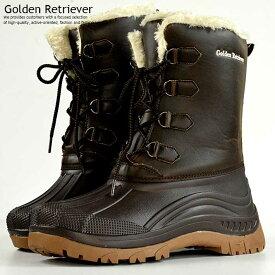 防寒 ブーツ メンズ レインブーツ メンズ スノーブーツ メンズ 防水 撥水 抗菌 Golden Retriever ブラウン 茶 ダークブラウン 7954 Y_KO 181125