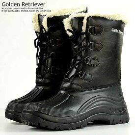 【21%OFF!】防寒 ブーツ メンズ レインブーツ メンズ スノーブーツ メンズ 防水 撥水 抗菌 Golden Retriever ブラック 黒 7954 Y_KO 181125