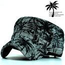 ワークキャップメンズキャップメンズ帽子メンズ麻混ヤシの木椰子の木プリントレディースGAZ5682-45841ブラック紺