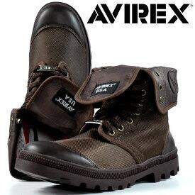【クーポンで20%OFF】ブーツ メンズ レディース AVIREX 送料無料 SCORPION HI スコーピオン アビレックス 正規品 アヴィレックス 本革×ナイロン レザー AV3402 ダークブラウン