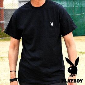 PLAYBOY Tシャツ ブランド メンズ レディース 半袖 プレイボーイ 送料無料 ワンポイント刺繍 丸首 シンプル 93175001 ブラック 黒 190526