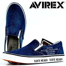 AVIREX スリッポン スニーカー メンズ AV3528 FREEDOM 靴 シューズ アビレックス アヴィレックス ミリタリー レディース ユニセックス デニム 紺 ネイビー