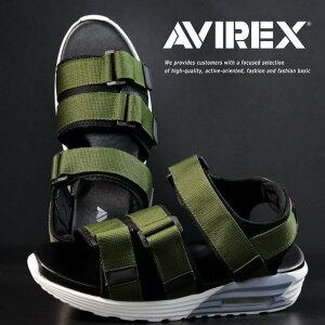 【サイズが合えばお買い得】AVIREX スポーツサンダル メンズ AV4541 HUDSON カーキ/ホワイト 靴 シューズ アビレックス アヴィレックス スポサン 軽量 エアソール マジックテープ レジャー 旅行 AV