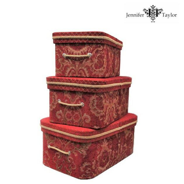 ジェニファーテイラー ボックス 3p Bacara バカラ レッド 赤 送料無料 収納ケース コレクションケース BOX カルトナージュ JENNIFER TAYLOR インテリア雑貨 クラシック アンティーク ロマンチック 姫系 輸入雑貨