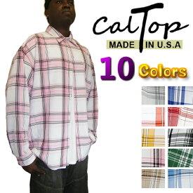 CalTop チェック柄 L/Sシャツ [カルトップ] 【全10色】チェックシャツ キャルトップ シャツ カルトップ 長袖 チェックシャツ メキシカン チカーノ ギャング ローライダー メンズ 大きいサイズ シャツ LL 2L 3L 4L 5L