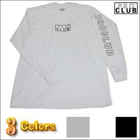 PRO CLUB (プロクラブ)ボックスロゴ ヘビーウェイト 【M〜XL】2XL〜4XLもございますPROCLUB Box Logo 長袖無地/プレーン ロングTシャツ(L/S TEE)大きいサイズメンズ スノボー ウェア スノーボード インナー M L LL 2L 3L 4L 5L