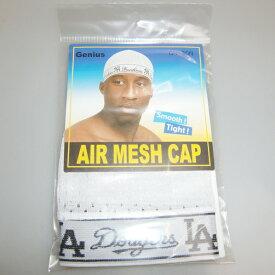 LA MESH ロゴ入り SPANDEX CAP(メッシュスパンデックスキャップ)メッシュビニー ビーニーキャップ ホワイト hiphop ヒップホップ ダンス 衣装 ダンス衣装 水泳帽 ロゴスパンデックスキャップ ロスアンゼルス