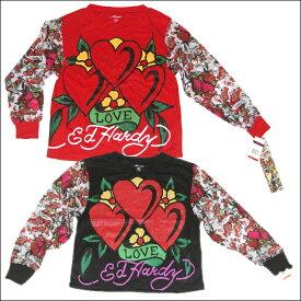 ED HARDY KIDS L/S TOPS [ED-H618G-BG]エドハーディーキッズトップス S〜XLサイズ[7歳〜16歳]子供服 レディースロングTシャツ 長袖 薄い素材 ダンス衣装ハート ダンサー ヒップホップ ストリートオールシーズン