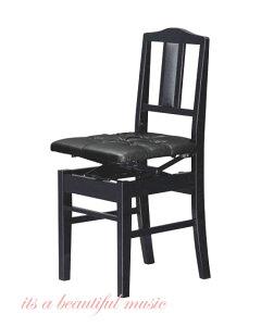 【its】入荷しました(数量僅少・次回入荷未定品)日本製背もたれピアノ椅子(トムソン椅子)クッション性のあるデラックス厚手座面の吉澤 NEW 5K-DX(5KDX/黒色)