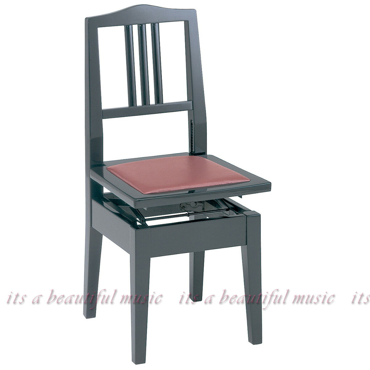 【its】お求めやすい!背もたれピアノ椅子(トムソン椅子)・甲南Konan No.6(No6)黒色