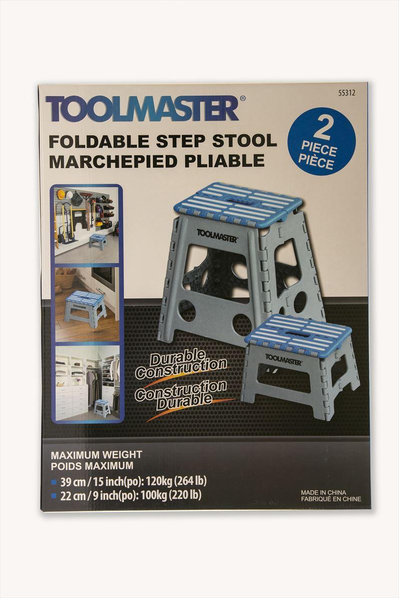【送料無料】【ブルー】折りたたみ 踏み台 TOOLMASTER 2個セット 高さ 39cm 22cm ステップツール 椅子 脚立 踏台