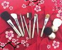 ☆送料無料☆筆の里熊野の伝統工芸が生み出したメイクブラシ10点セット【こちらはブラシセットのみの商品です】