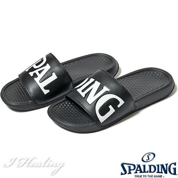 SPALDING スポーツサンダル メンズ ブラック バスケットボール ビッグロゴ スポルディングSASH001M-BLACK