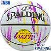 SPALDINGミニバスバスケットボール5号NBAロサンゼルスレイカーズマーブル小学校子供用ラバースポルディング83-927J