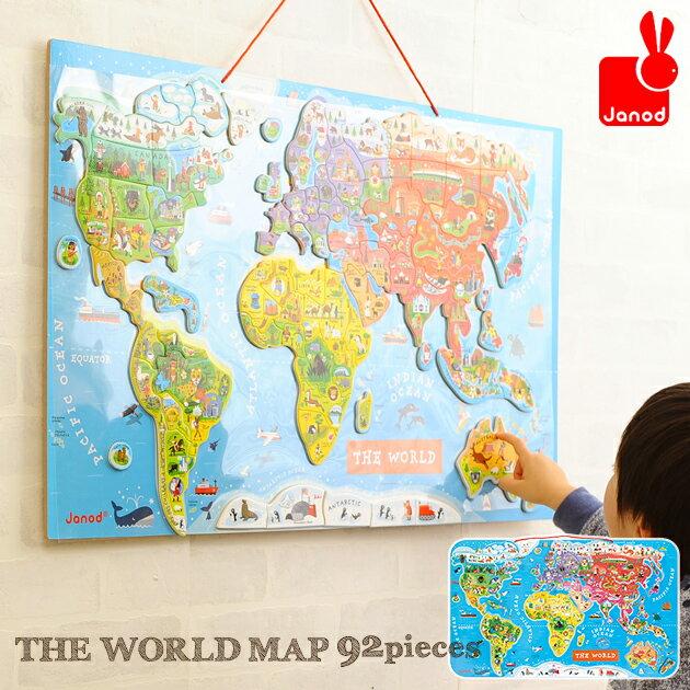 【あす楽対応】 【送料無料】 【300円OFFクーポン対象】 Janod(ジャノー) マグネット式 パズルワールドマップ 英語版 92P TYJD05504 JANOD 世界地図 パズル 木のおもちゃ 英語 おもちゃ 知育玩具 2歳 3歳 お誕生日プレゼント お誕生日プレゼント