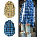 ロング丈 チェック柄 長袖シャツ メンズ ネルシャツ チェックシャツ ストリート メンズファッション イエロー ブルー…