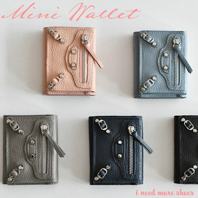 ジップデザイン レザー三つ折り ミニ財布 ミニウォレット レディース 財布 三つ折り パステル 小さい 小型 コインケース 小銭入れ カードケース 名刺入れ ブラック ピンク ブルー ネイビー