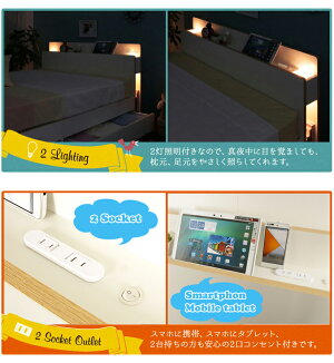 セミダブルベッドフレームのみLYCKA(リュカ)北欧モダンすのこベッド収納付きベッド収納ベッド2灯照明スマホ携帯充電OK2口コンセント本棚付き・棚照明付き引き出し付きベッドすのこベットナチュラルホワイトシンプルセミダブル北欧[送料無料]