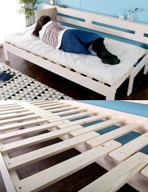 木製ソファベッド伸長式すのこベッドシングル伸長式ソファベッド2way天然木すのこベッドフレームスライドで簡単伸張パイン材伸縮式木製ベッドカントリー調ソファーベンチソファ2Pソファ木製ベッド布団マット別売【新商品】
