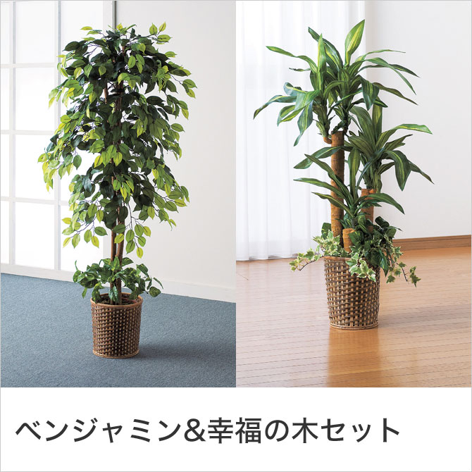 インテリアグリーン 2点セット 人工観葉植物 本物そっくり 光触媒加工 ベンジャミン 幸福の木