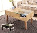 センターテーブル ガラステーブル ローテーブル 引出し付き リビングテーブル ガラス おしゃれ カフェ コーヒーテーブ…