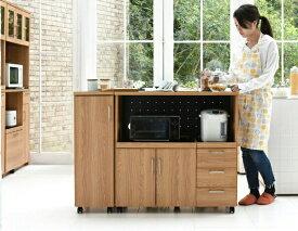 Keittio 北欧キッチンシリーズ 幅120 キッチンカウンター レンジ収納 収納庫付き ウォールナット調 北欧デザイン スライド レンジ台 引き出し付き 北欧キッチン レンジカウンター カウンター収納 キッチン台 レンジ棚 収納 ラック 木製 北欧家具