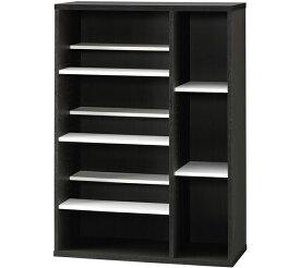 シェルフ 幅75.8cm 本棚 高さ108cm ハイタイプ オープンラック 書棚 前後棚段違い マンガ CD DVD リビング収納 木製