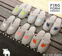 ニットスリッパエルク(ヘラジカ)モチーフのスウェーデン発ブランドMOZサラリとした履き心地のニットスリッパアッパーにエルクの刺繍内側ボーダー優しくやわらかな履き心地で快適。室内履きFarg&Form(フェルグアンドフォルム)