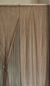 【ポイント5倍★9/15限定!】 ハイゲージレースとひもの2重のれん 85cm×150cm ホワイト ブラウン 日本製 国産 紐のれん レース暖簾 ハイゲージレース ウェーブ柄 二重のれん 暖簾 リボン付き 和