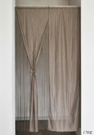 ハイゲージレースとひもの2重のれん85cm×170cmホワイトブラウン日本製国産紐のれんレース暖簾ハイゲージレースウェーブ柄二重のれん暖簾リボン付き和風洋風フリーポールシックエレガント間仕切り入口玄関リビング目隠し