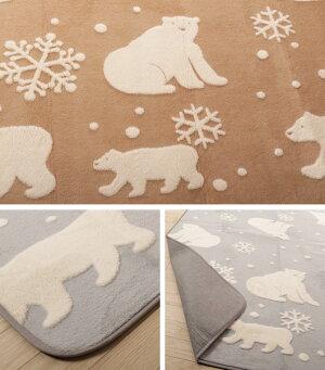 ラグカーペットマットしろくまラグ185×185フランネル洗える軽量ホットカーペット・床暖房対応オールシーズン夏冬ウォッシャブル絨毯フローリングフロアラグ北欧風おしゃれ可愛い白くま雪結晶こたつマット引越し一人暮らしワンルーム[新商品]