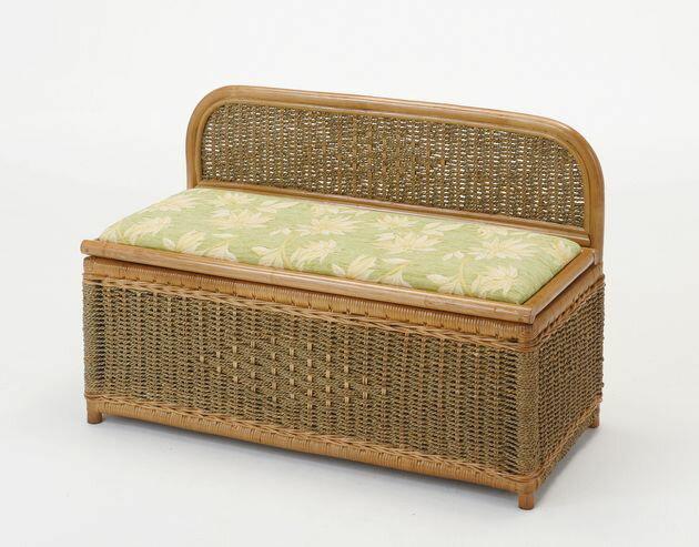 座椅子 天然素材の籐とシーグラス(水草)で、編み込まれたナチュラルでシンプルなベンチボックスです。 ベンチボックス イス・チェア 座椅子 籐製 送料無料 敬老の日 母の日 父の日 ギフト プレゼント 座椅子 座いす 座イス チェア チェアー フロアチェア フロアチェアー