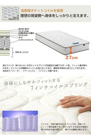 東京ベッドポケットコイルマットレスRev.7Nブルーラベルポケットコイルマットレスシングル国産スプリングコイルマットレスTOKYOBEDポケットコイルスプリングマットレスすぐれた体圧分散性点で支えるポケットマット