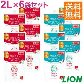 セール開催中 / 送料無料 / ライオン 同梱不可 業務用 hadakara ハダカラ 2L×6入 ケース販売 大容量 乾燥肌を防ぐお風呂のボディケア!もっちり泡で優しく洗えます