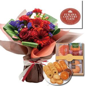送料無料!花とスイーツ ギフトセット レッドフラワー花束&洋菓子 有精卵たっぷり セット・詰め合わせ。父、母、友達 誕生日 プレゼント・お祝い・内祝い・・に写真入り メッセージ カ