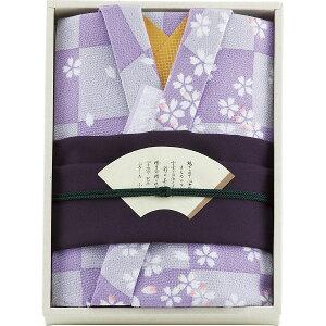 彩美 きもの姿 ふろしき・小ふろしきセット 紫写真入り メッセージカードお母さん おばあちゃん プレゼント 女性 成人祝い 誕生日 就職祝い (SD)
