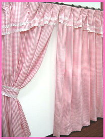 【 100×200cm (4枚組) 】 かわいい バランス付き チェック柄 ドレープカーテン(厚地) と 同色 ミラーレース カーテン 4枚セット [レースセット 子ども部屋 フリル 乙女 少女 女の子 掃き出し窓 大窓] あす楽