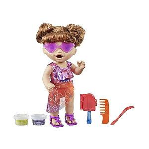 ベビーアライブ 赤ちゃん 人形 ベビードール おままごと 着せ替え フィギュア 知育玩具 Baby Alive Sunshine Snacks Doll, Eats and Poops, Summer-Themed Waterplay Baby Doll, Ice Pop Mold, Toy for Kids Ages 3 and Up, Brown Hair
