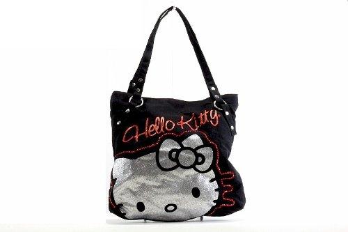 ハローキティ トートバッグ ハンドバッグ Hello Kitty Girl's Tote Kitty Rocks Black Handbag
