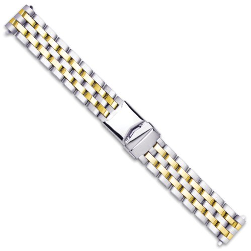 deBeer デビアー 時計ブレスレット Breitling Pilot Style Solid Link Metal Watch Band - Two Tone - 20mm
