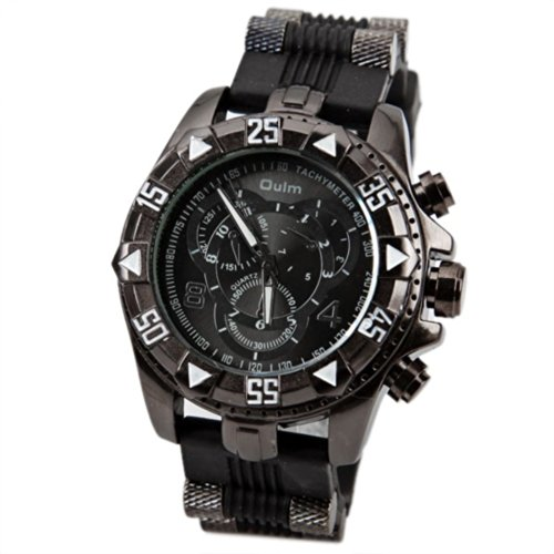 Orient Idea オリエントアイデア メンズ腕時計 Ori-0642 Men's Watch with Numbers and Strips Hour Marks Round Dial Stainless Steel Case Silicon Band -Black