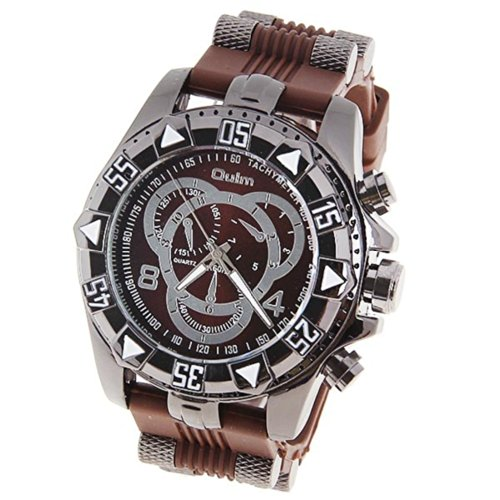 Orient Idea オリエントアイデア メンズ腕時計 Ori-0642 Men's Watch with Numbers and Strips Hour Marks Round Dial Stainless Steel Case Silicon Band -Brown