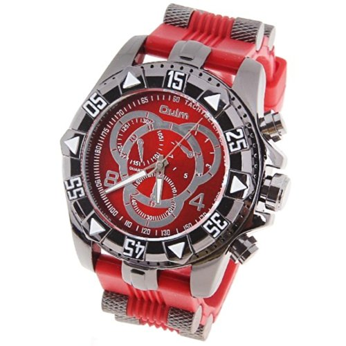 Orient Idea オリエントアイデア メンズ腕時計 Ori-0642 Men's Watch with Numbers and Strips Hour Marks Round Dial Stainless Steel Case Silicon Band -Red