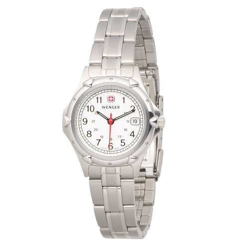 ウェンガー レディース 腕時計 Wenger Women's 70209 Standard Issue White Dial Steel Bracelet Watch