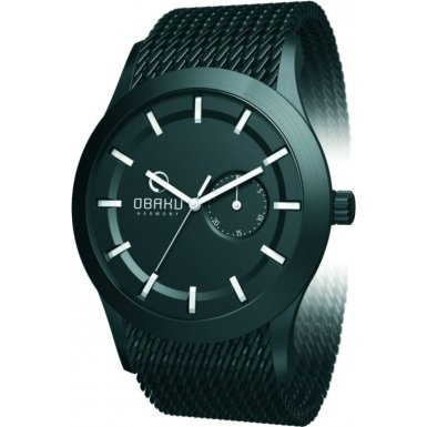 オバック メンズ 紳士用 腕時計 Obaku bu Ingersoll gents black dial stainless steel bracelet watch V124GBBMB