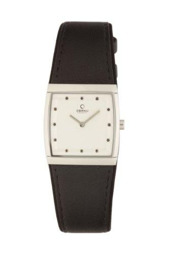 オバック レディース 腕時計 Obaku By Ingersoll Ladies Silver Dial Black Leather Strap Watch V102LCCRB