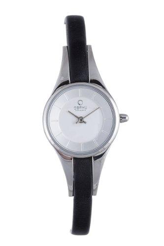 オバック レディース 腕時計 Obaku By Ingersoll Ladies Silver Dial Black Leather Strap Watch V110LCIRB