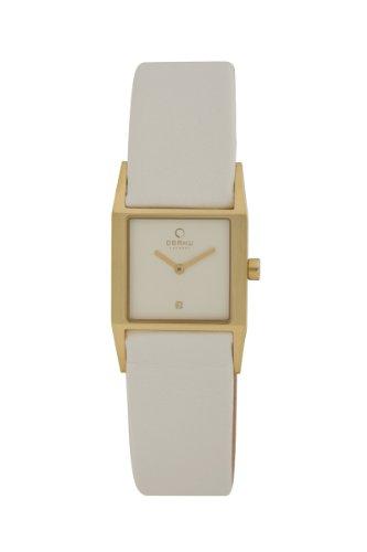 オバック レディース 腕時計 Obaku By Ingersoll Ladies Gold Case White Leather Strap Watch V113LGIRW